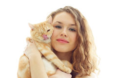 girl and a British cat isolated Royalty Free Stock Photo