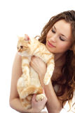 Girl and British cat isolated Stock Photography
