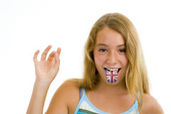 Girl with british flag on tongue Stock Photos