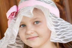 Girl in broad-brim. Portrait of girl with broad-brim stock photography