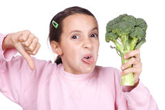 Girl with broccoli Royalty Free Stock Photography
