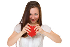 Girl broke red heart Royalty Free Stock Photography