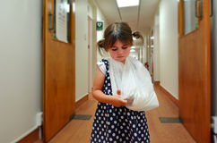 Girl with a broken arm Stock Image