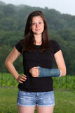Girl broken arm Stock Photos