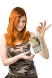 Girl with broken hard drive Royalty Free Stock Photography