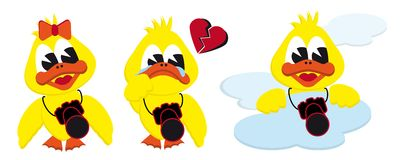 Girl broken heart and cloud ducks Stock Photos