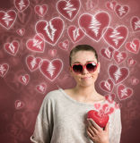 Girl with a broken heart Stock Photo