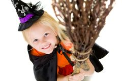 Girl with broom Royalty Free Stock Photography