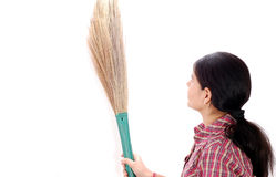 Girl with broom Stock Photos