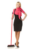 Girl with broom. Full length of woman standing with broom - concept Cleaning company royalty free stock images