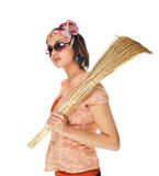 Girl with a broom Stock Photo
