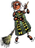 Girl with broom Stock Image