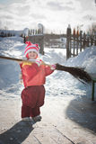 Girl with a broom Stock Photos