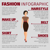 Girl in brown dress fashion infographic. Fashion infographic with girl in a brown dress. Vector illustration Stock Photography