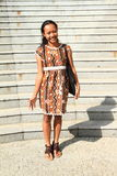 Girl in brown dress Royalty Free Stock Photos