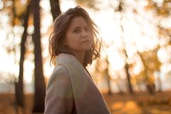 Girl with brown hair in the autumn forest on the backlight royalty free stock images