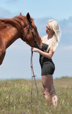 Girl with brown horse Royalty Free Stock Photos