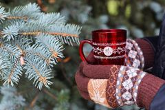 Red cup and brown gauntlets. Girl in brown mittens is holding a red cup near the New Year& x27;s tree Royalty Free Stock Photo