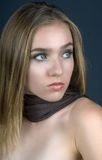 Girl with Brown Scarf stock photo