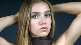 Girl with Brown Scarf royalty free stock photo