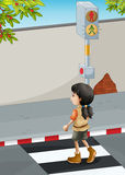 A girl with a brown shoes crossing the street Royalty Free Stock Photo