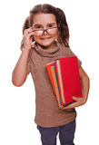 Girl brunette glasses  baby reads the book keeps smiling isolate Stock Photography