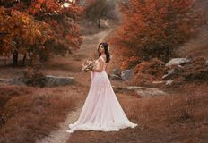 Girl brunette with long hair, in a luxurious pink dress with a long train. The bride with a bouquet poses against a. Background of a fabulous autumn landscape royalty free stock photo
