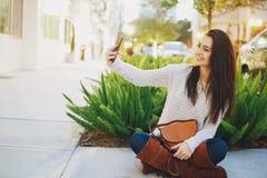 Girl brunette on the street Stock Photo