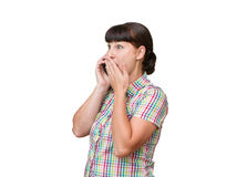 Girl brunette talking on a cellular phone Stock Images