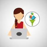 Girl brunette using computer data analysis. Vector illustration eps 10 Stock Images
