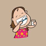 Girl brush teeth Stock Images