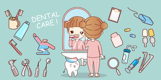 Girl brush tooth with equipment Royalty Free Stock Image