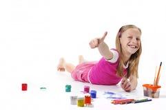 Girl with brush on white background Stock Photo