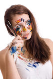 Girl with brushes Royalty Free Stock Photography