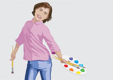 Girl with brushes and palette. Girl paints paints with brushes and palette Stock Photos