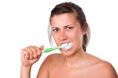 Girl Brushing her Teeth Stock Photos