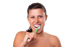 Girl Brushing her Teeth Royalty Free Stock Photo