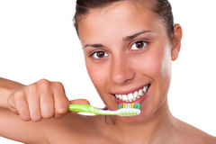 Girl Brushing her Teeth Stock Photography