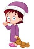 Girl brushing her teeth. Illustration of Girl brushing her teeth Royalty Free Stock Images