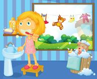 A girl brushing her teeth. Illustration of a girl brushing her teeth Royalty Free Stock Photography