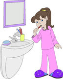 Girl is brushing teeth Stock Images
