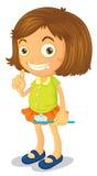 A girl brushing teeth royalty free illustration