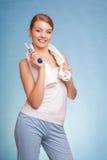 Girl brushing teeth. Dental care healthy teeth. Stock Image