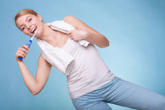 Girl brushing teeth. Dental care healthy teeth. Royalty Free Stock Images