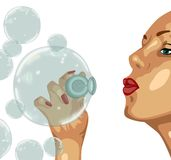 Girl and  bubble Stock Image