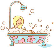 Girl and bubble bath Stock Images
