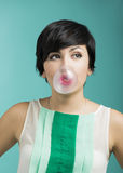 Girl with a bubble gum Royalty Free Stock Photos