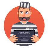 A prisoner with a sign in his hands does not look well into the camera. striped uniform. vector illustration stock illustration