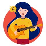 The girl in the bubble sings songs and plays the guitar. royalty free illustration