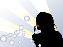 Girl and Bubbles stock illustration